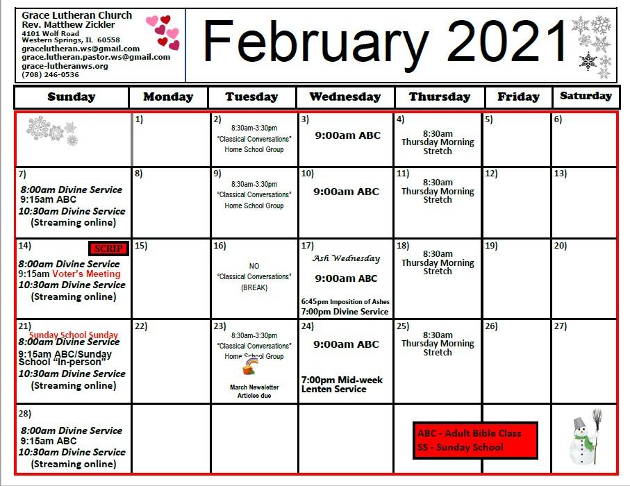 Feb 2021 Calendar